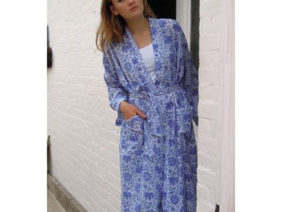 Blockprint dressing gown