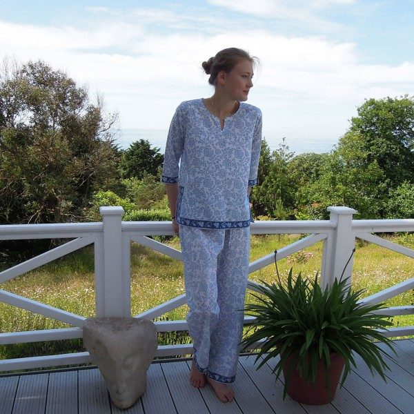 Blue and White Cotton Pyjamas
