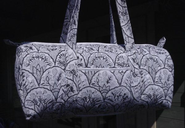 Black and white floral travel bag
