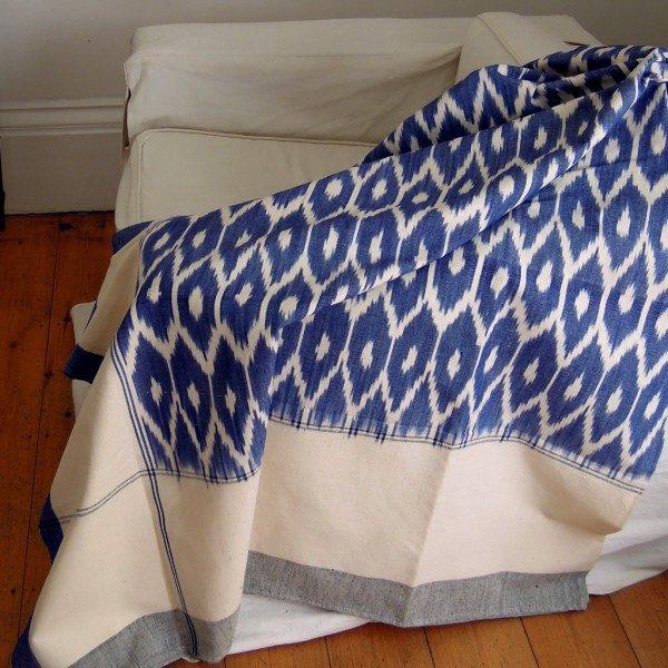 Handwoven Ikat Bedspread