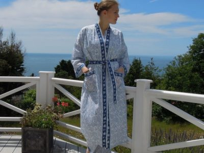 Blue and White Cotton Dressing Gown