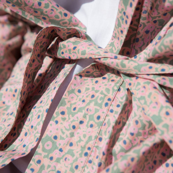 Green and Pink Cotton Print Dressing Gown